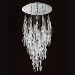"""Elica"" Murano glass chandelier - 4 lights - transparent white"