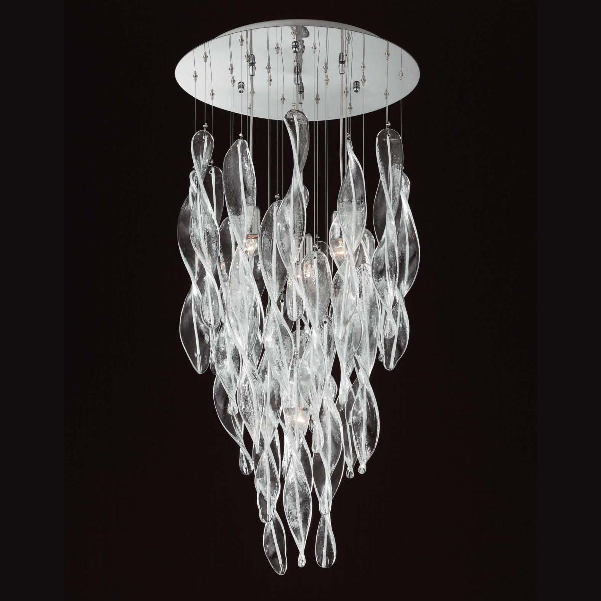 """Elica"" lustre en verre de Murano - 4 lumieres- transparent blanc"