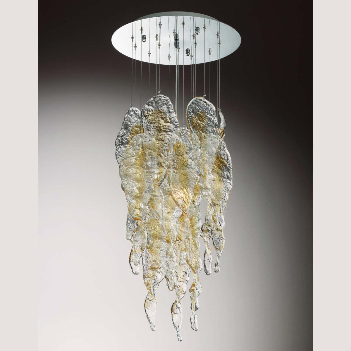 """""""Aurel"""" lustre en cristal de Murano - 3 lumieres - transparent et ambre"""