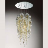 """Aurel"" Murano glass chandelier - 3 lights - transparent and amber"