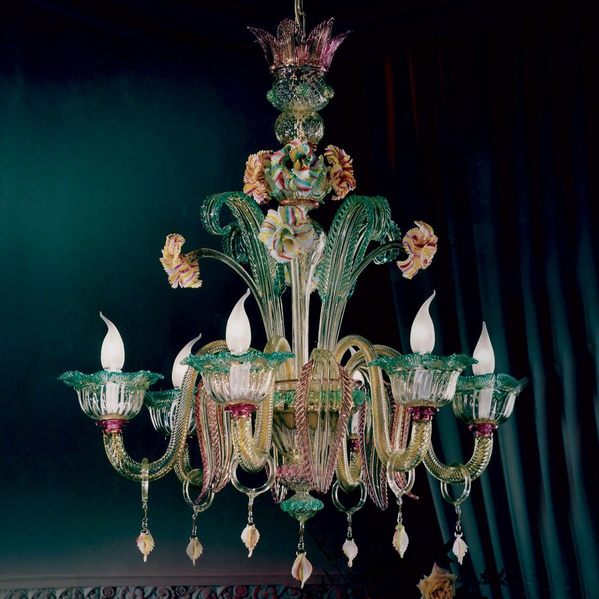 """""""San Marcuola"""" lampara de cristal de Murano - 6 luces"""