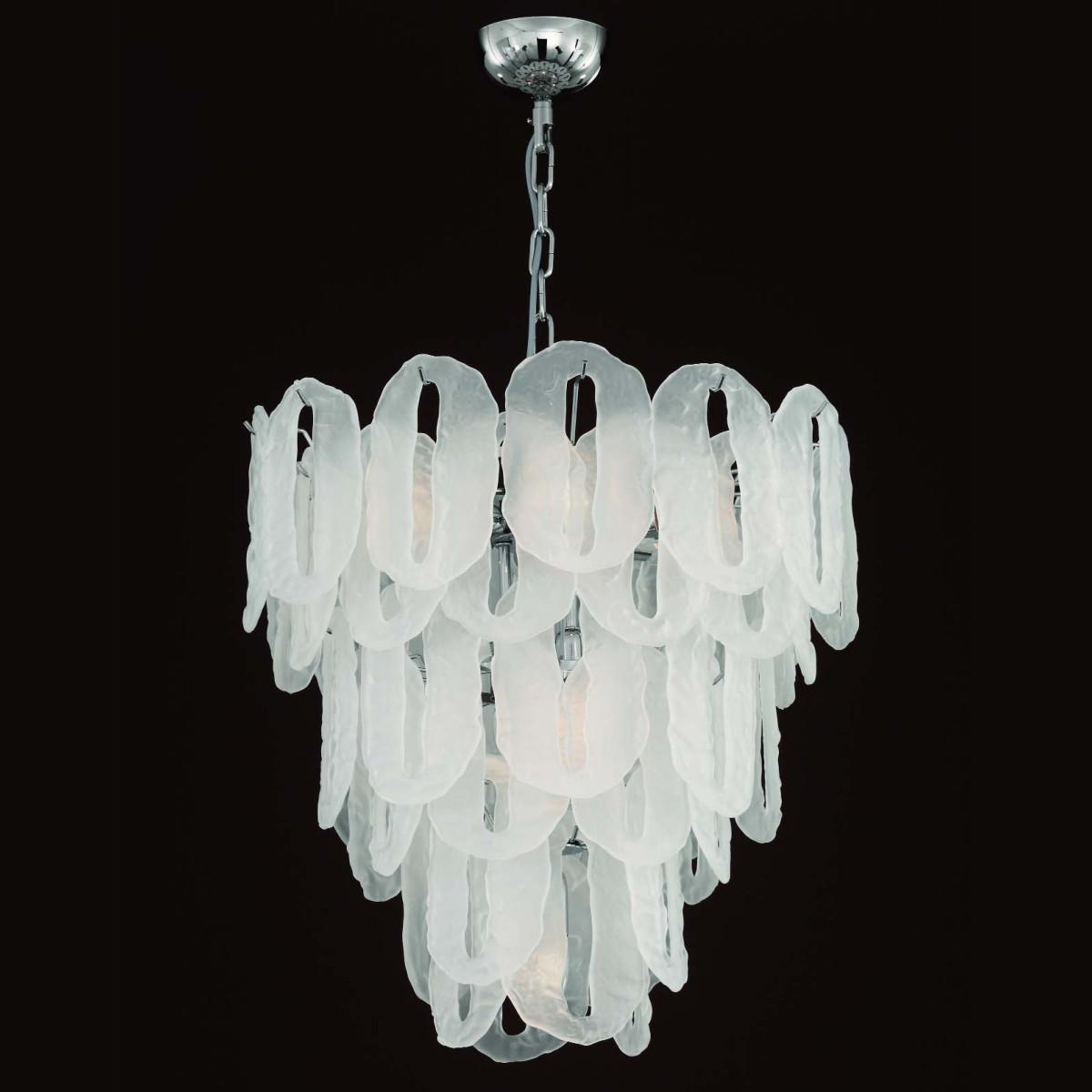 """""""Vicky"""" lustre en verre de Murano - 7 lumieres - couleur glace"""
