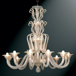 """Niobe"" Murano glass chandelier - 12 lights - silk gold"