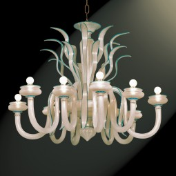 """""""Gerda"""" Murano glass chandelier - 10 lights - silk gold with blue finishes"""