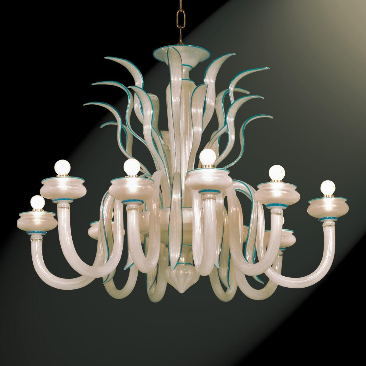 """""""Gerda"""" lampara de araña de Murano - 10 luces - seda oro y azul"""