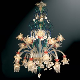 """Immacolata"" Murano glass chandelier - 20 lights - multicolor"