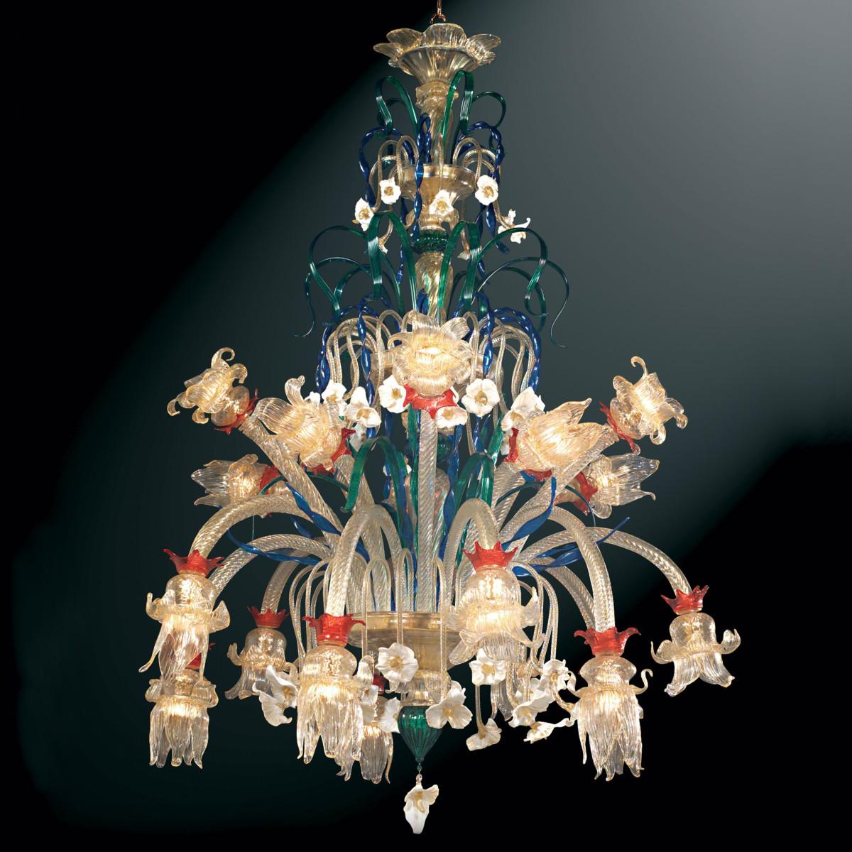 """Immacolata"" Murano glass chandelier - 20 lights - multicolor"