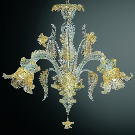 Fenice 3 lumieres lustre Murano - couleur transparent or