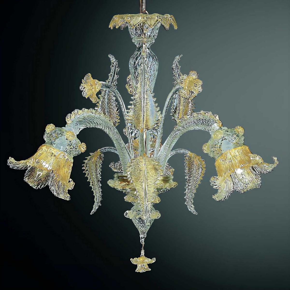 Fenice 3 lights Murano chandelier - transparent gold color