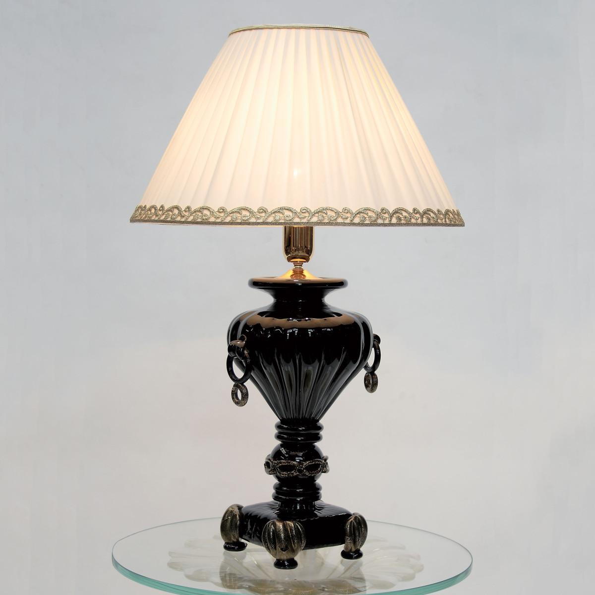 """""""Asteria"""" lampara de sobremesa de cristal de Murano -1 luz - negro y oro"""