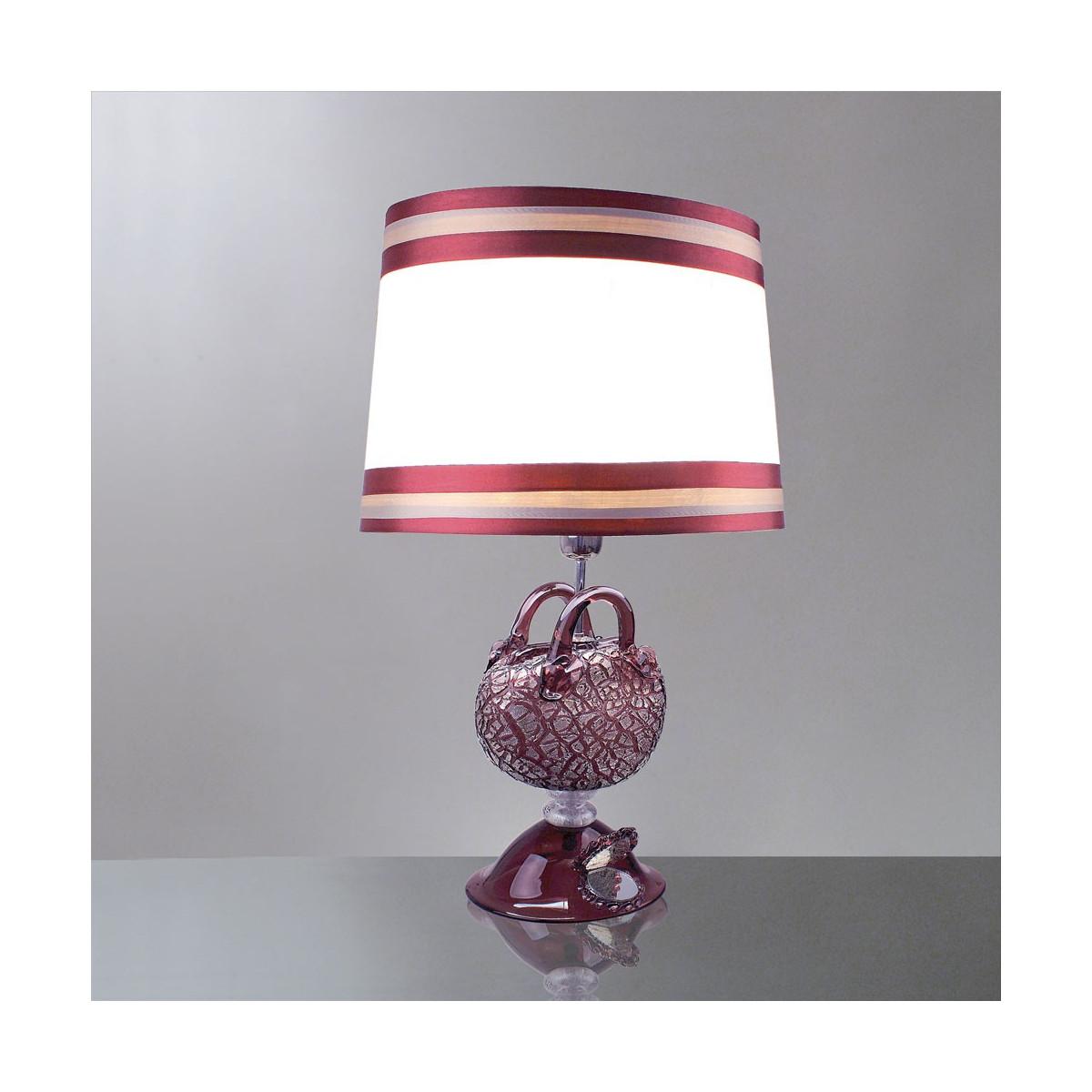 """""""Nefeli"""" lampara de sobremesa de cristal de Murano - 1 luz - amatista y plata"""