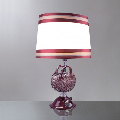 """Nefeli"" Murano glass table lamp - 1 lights - amethyst and silver"
