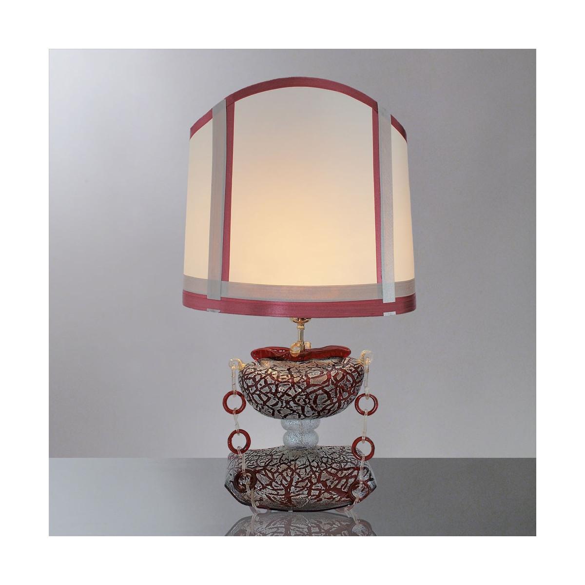 """""""Ianira"""" lampe de table en verre de Murano - 1 lumiere - rouge et argent"""