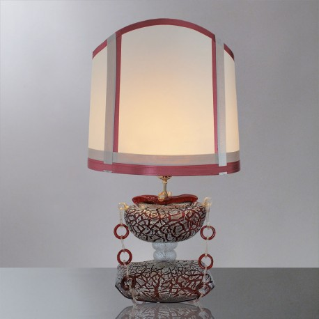 """Ianira"" Murano glass table lamp - 1 light - red and silver"