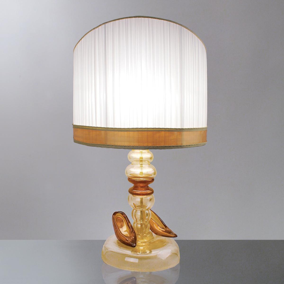 """""""Eudora"""" lampe de table en verre de Murano - 1 lumiere - or et ambre"""