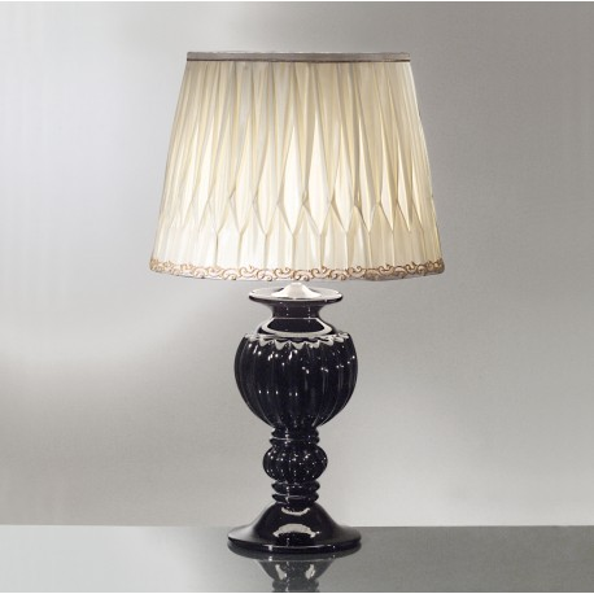 """Tersicore"" lampe de table en verre de Murano - 1 lumiere - noir"