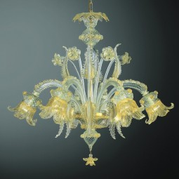 Fenice 6 lights Murano chandelier - transparent gold color