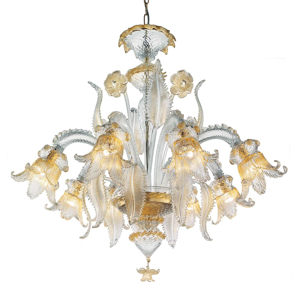 Fenice 6 lights Murano chandelier - transparent gold color
