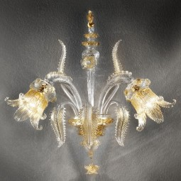 Fenice 2 lights Murano sconce transparent gold color