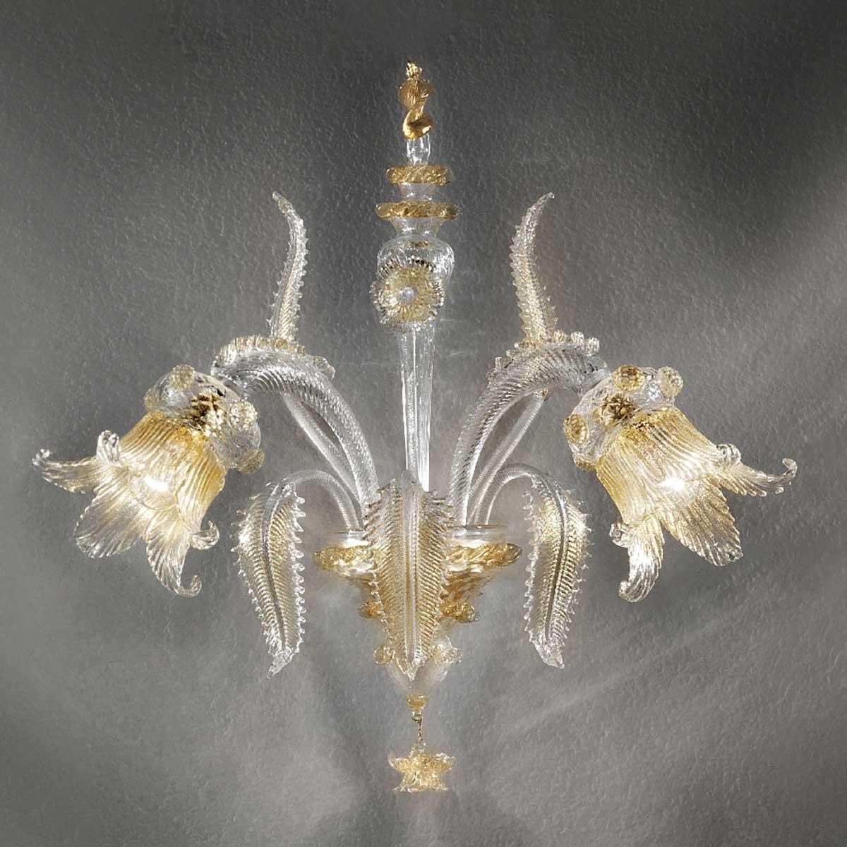 Fenice 2 flammig aus Murano glas wandleuchte - transparente Gold farbe