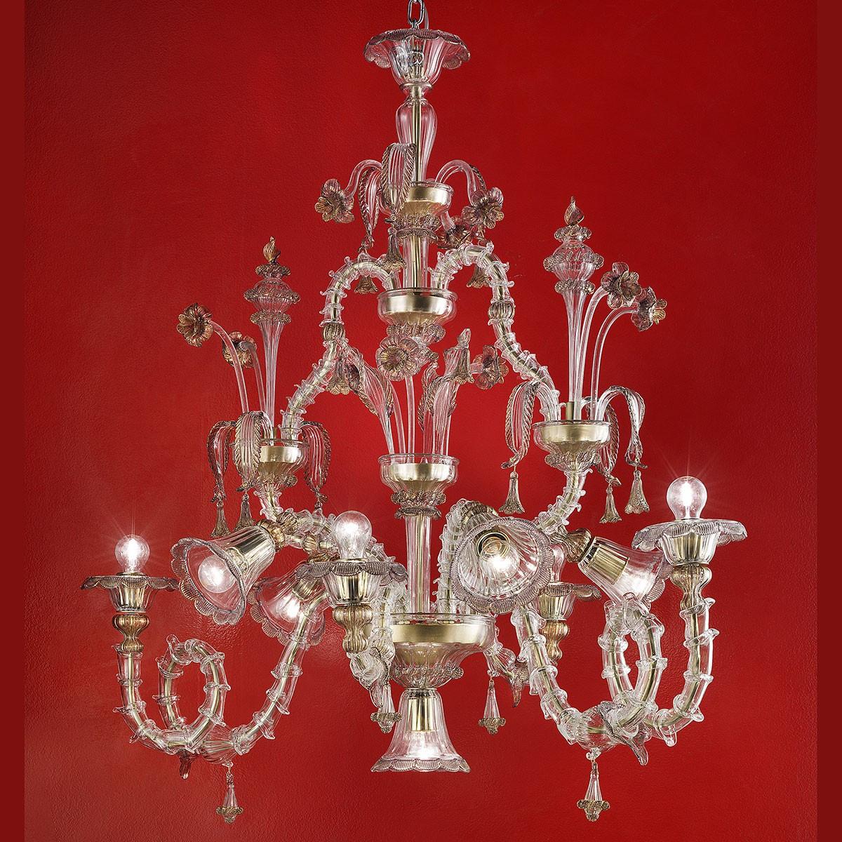 """Agenore"" lustre en verre de Murano - transparent et or"