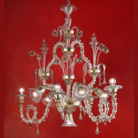 """Agenore"" Murano glass chandelier - transparent and gold"