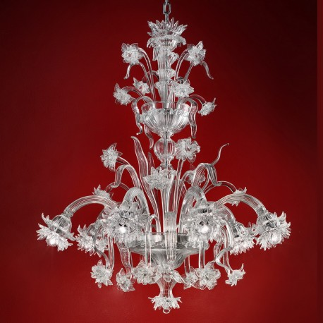 """Brina"" Murano glass chandelier - 6 lights - transparent color"