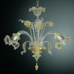 Canal Grande 3 lights Murano chandelier - transparent gold color