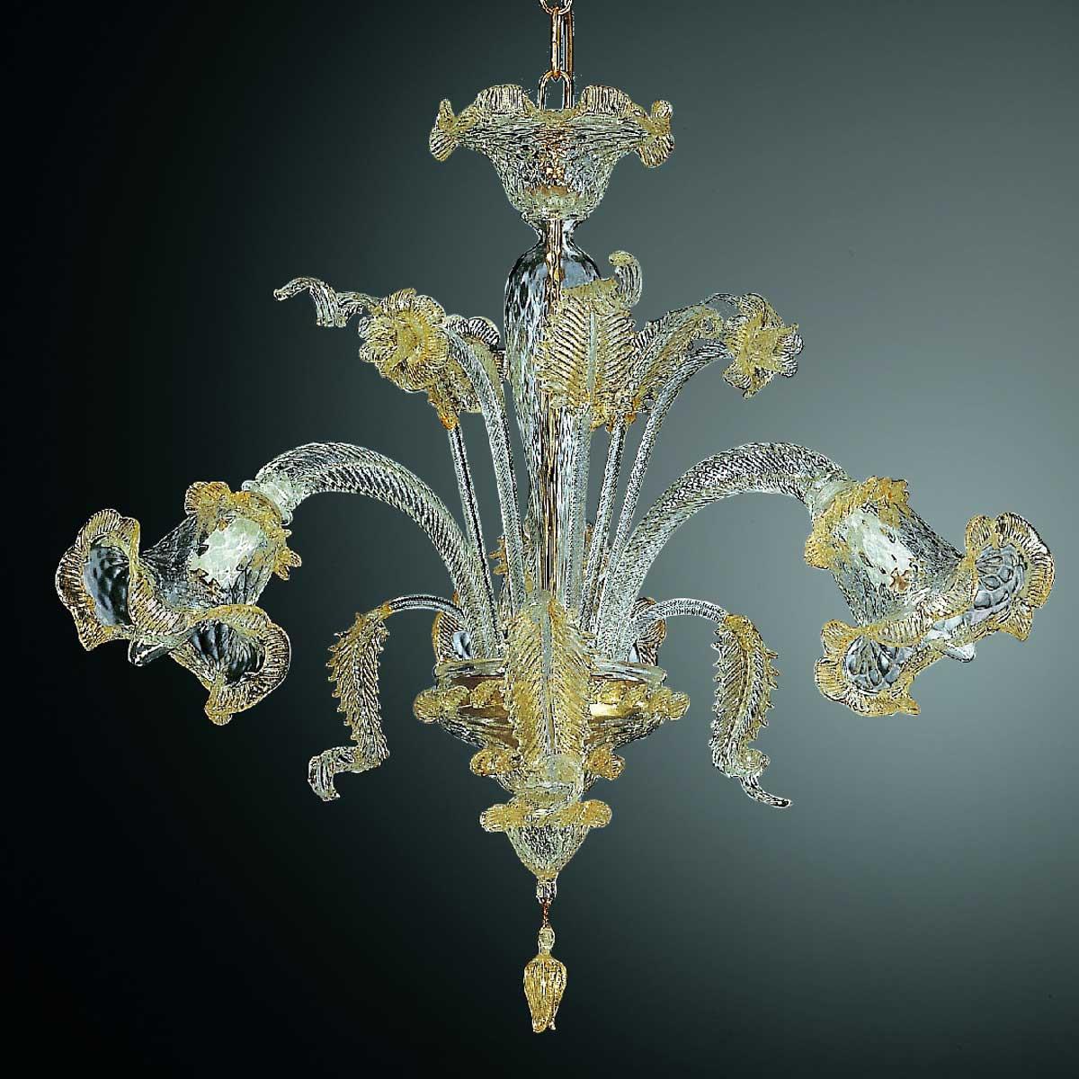 Canal Grande 3 luces lampara de Murano - color transparente oro