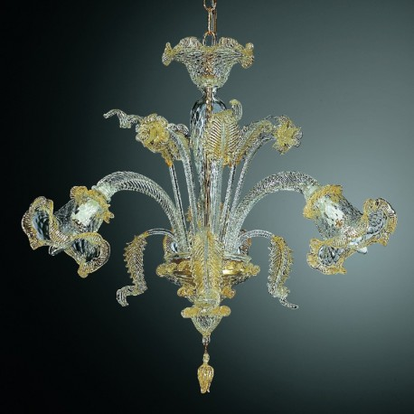 Canal grande small murano glass chandelier murano glass chandeliers canal grande 3 lights murano chandelier transparent gold color aloadofball Gallery