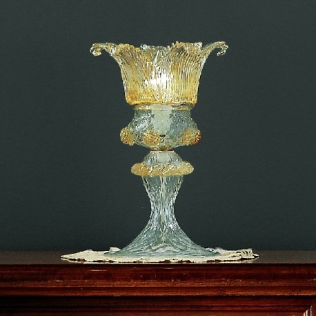 Fenice 1 light Murano small table lamp - transparent gold color