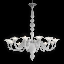 """Candido"" Murano glass chandelier - 6 lights - white"