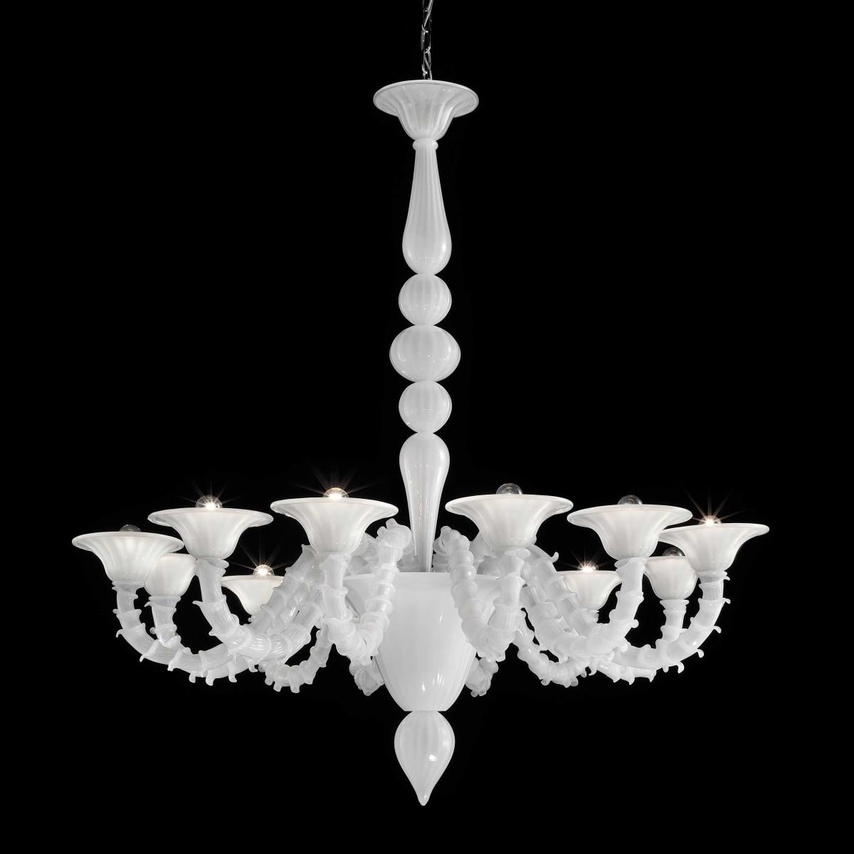 """Candido"" lustre en cristal de Murano - 6 lumieres - blanc"