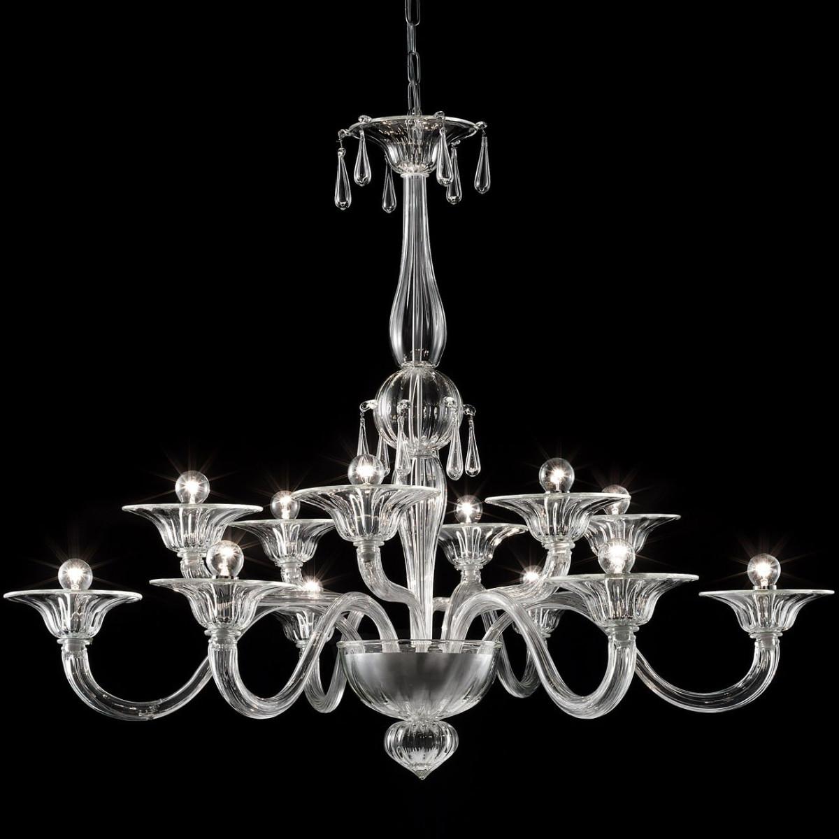 """Gioia"" lustre en verre de Murano - 12 lumieres, transparent"