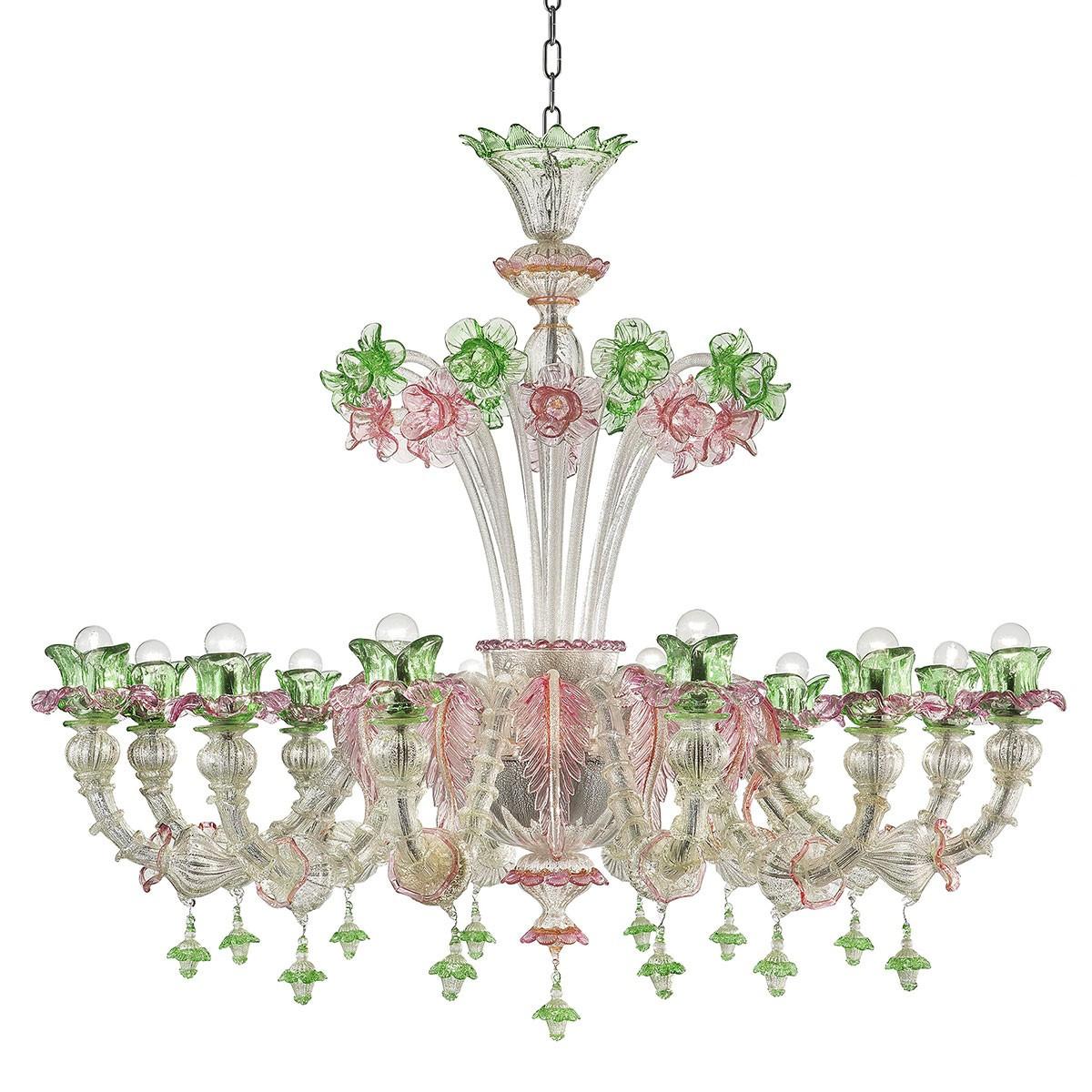 """""""Ines"""" lustre en verre de Murano - 12 lumieres, argent avec rose et vert"""