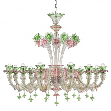 """Ines"" Murano glass chandelier - 12 lights, silver with pink and green trimmings"