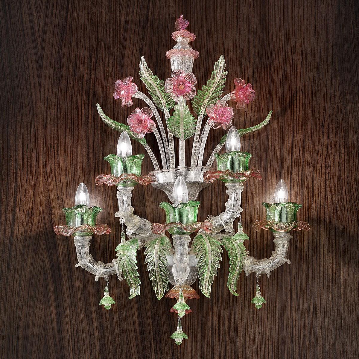 """""""Ines"""" applique en verre de Murano - 3+2 lumieres, argent rose et vert"""
