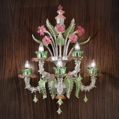 """Ines"" Murano glass wall sconce - 3+2 lights, silver pink and green"