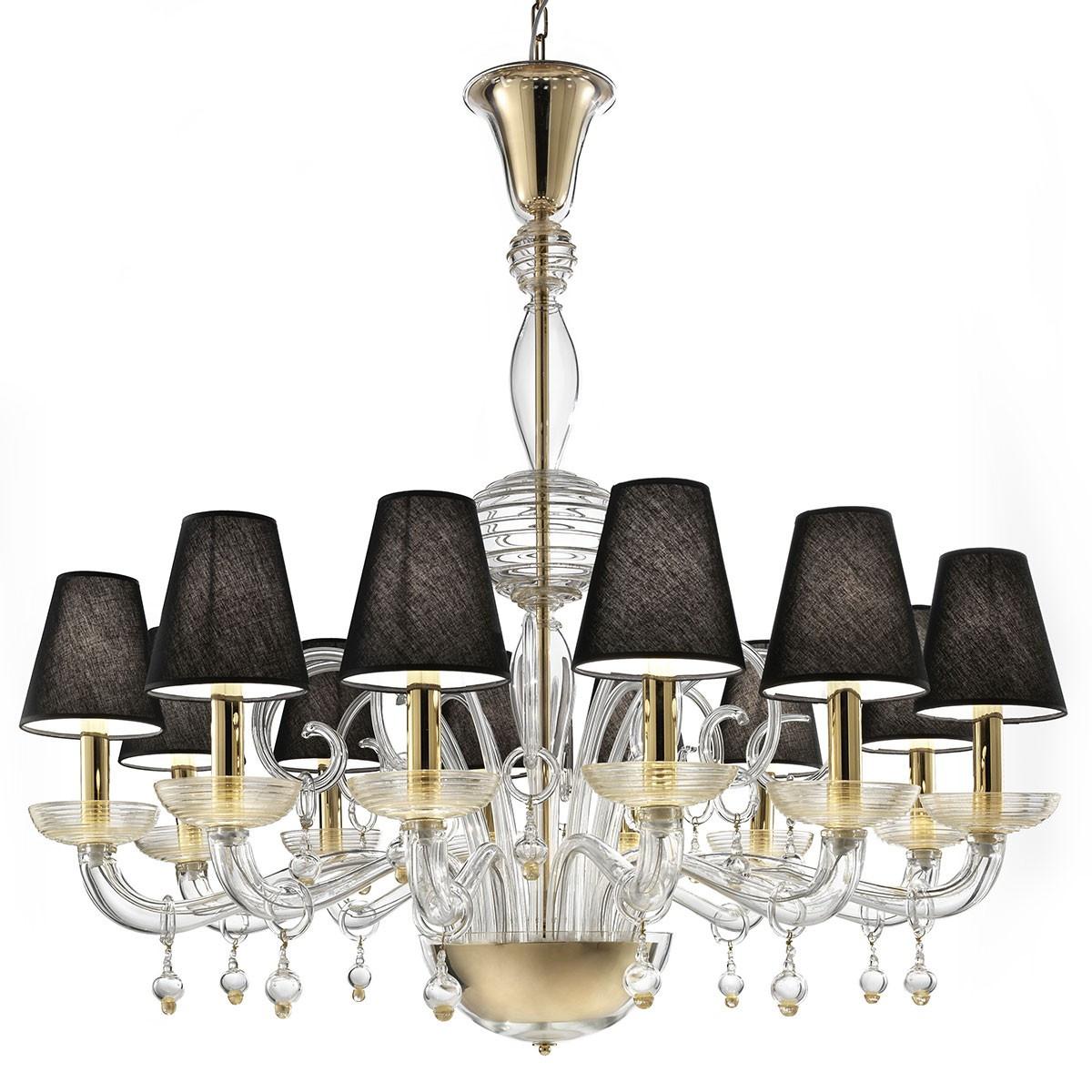 """""""Soave"""" lustre en verre de Murano - 12 lumieres, transparent et or"""