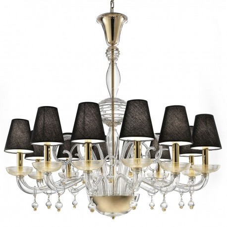 """Soave"" Murano glass chandelier - 12 lights, transparent and gold"