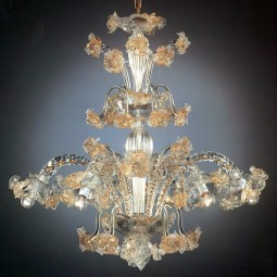 Flora 6 lights Murano chandelier with crests transparent gold color