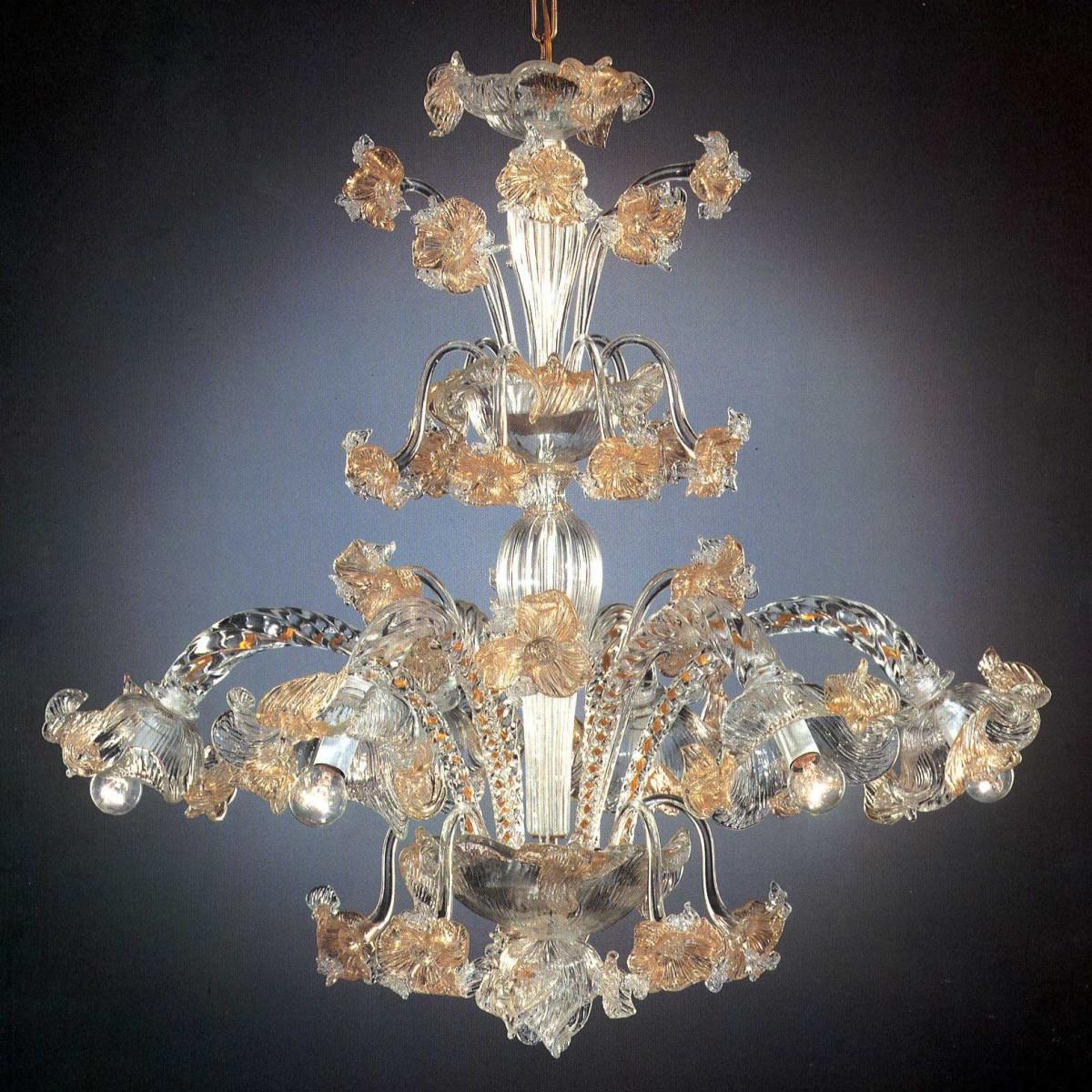Flora 6 luces araña de Murano coalta - color transparente oro
