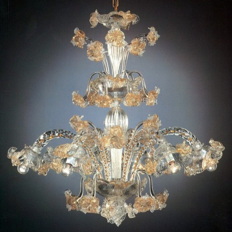 Flora 6 lumières haute Murano chandelier - couleur transparent or