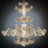 Flora 6 lights tall Murano chandelier - transparent gold color