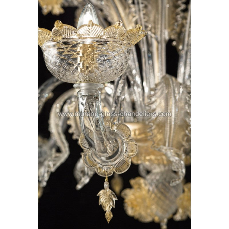 "Small Murano Crystal Chandelier: ""Artico"" Murano Glass Chandelier"