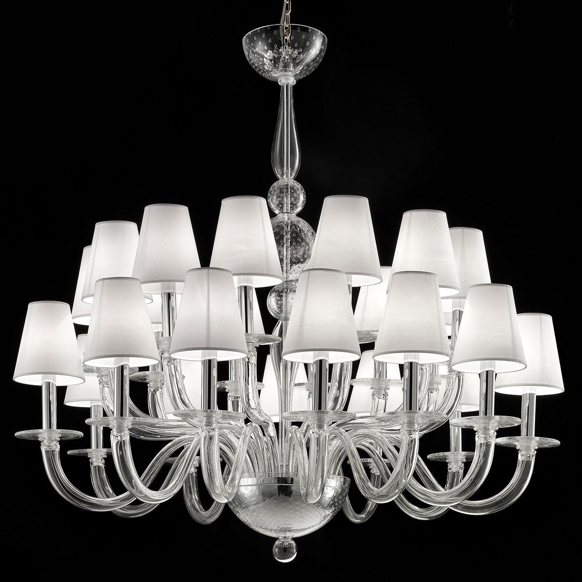 """Vasco"" lampara de araña de Murano - 12 + 12 luces, transparente"