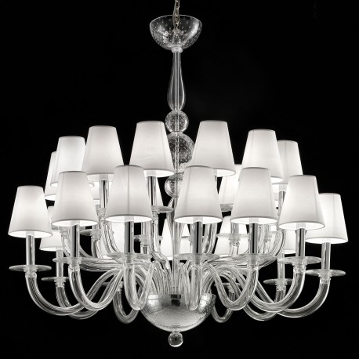 """Vasco"" lustre en verre de Murano - 12 + 12 lumieres, transparent"