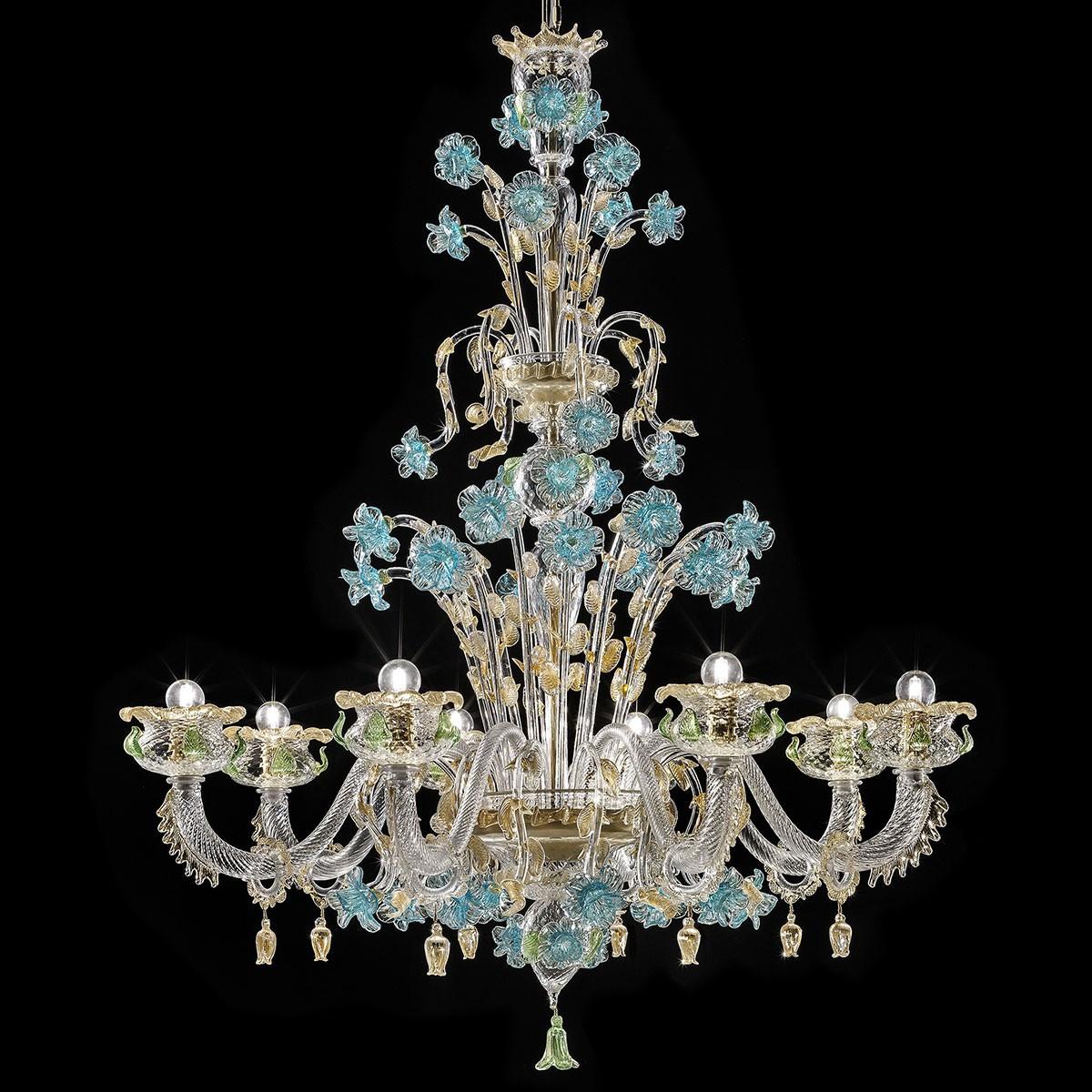 """""""Celeste"""" lustre en verre de Murano - 8 lumières, transparent or avec turquoise et vert"""