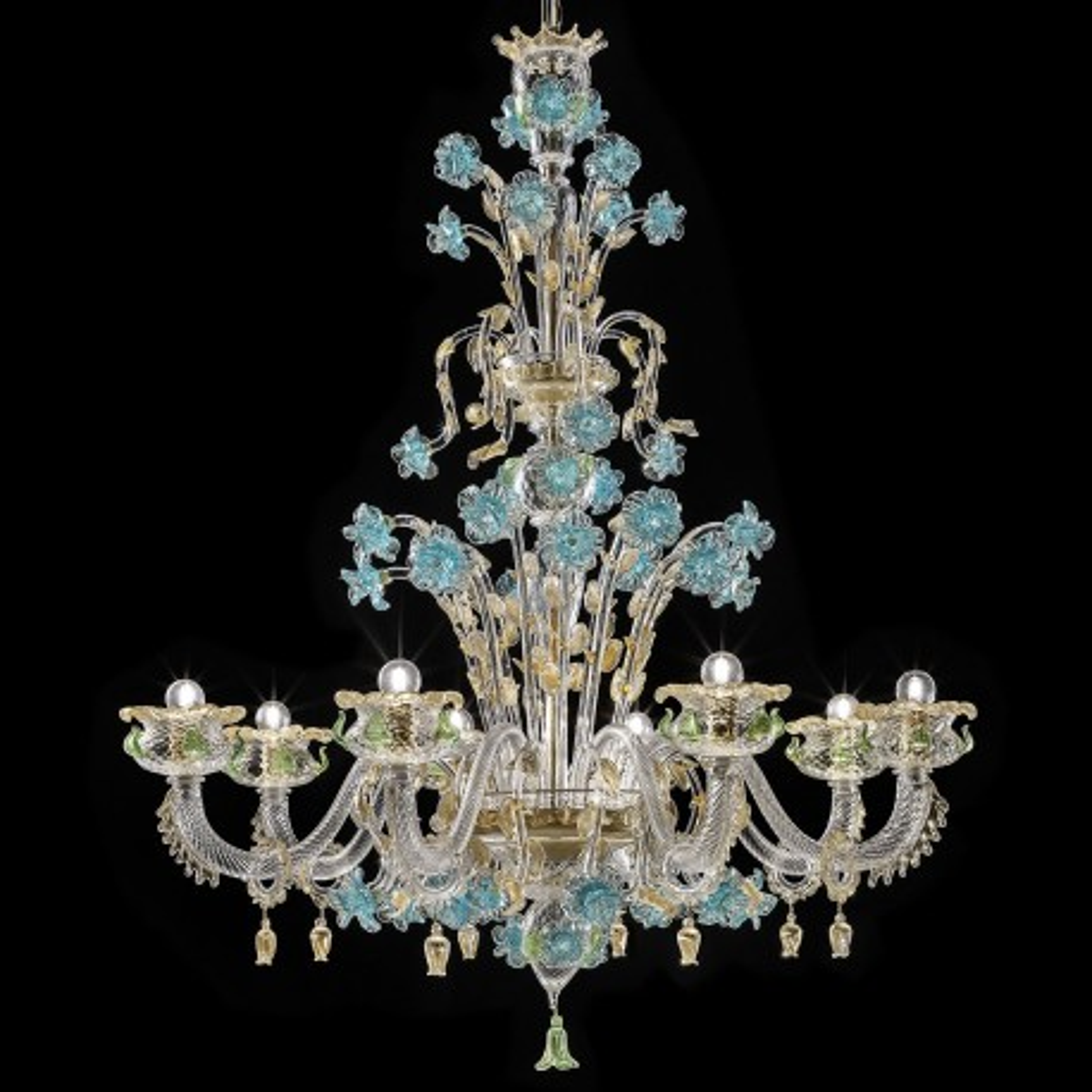 """""""Celeste"""" Murano glas Kronleuchter - 8 flammig, transparent Gold mit Türkis und grün"""
