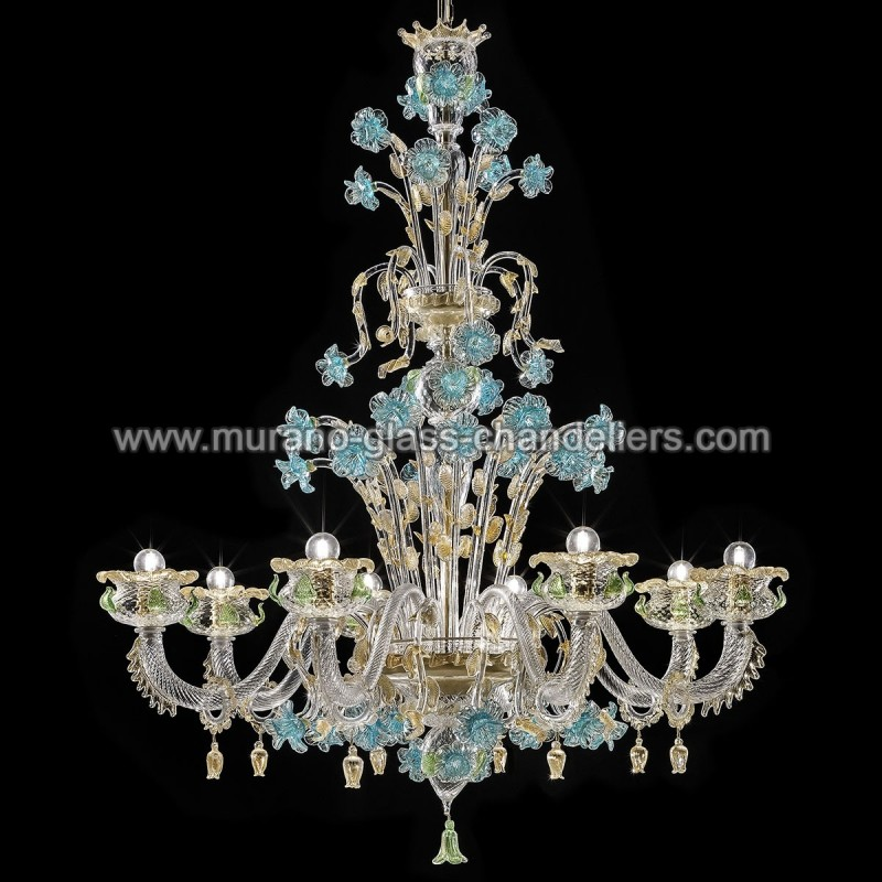 "Small Murano Crystal Chandelier: ""Celeste"" Murano Glass Chandelier"